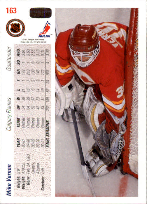 1991-92 Upper Deck #163 Mike Vernon back image
