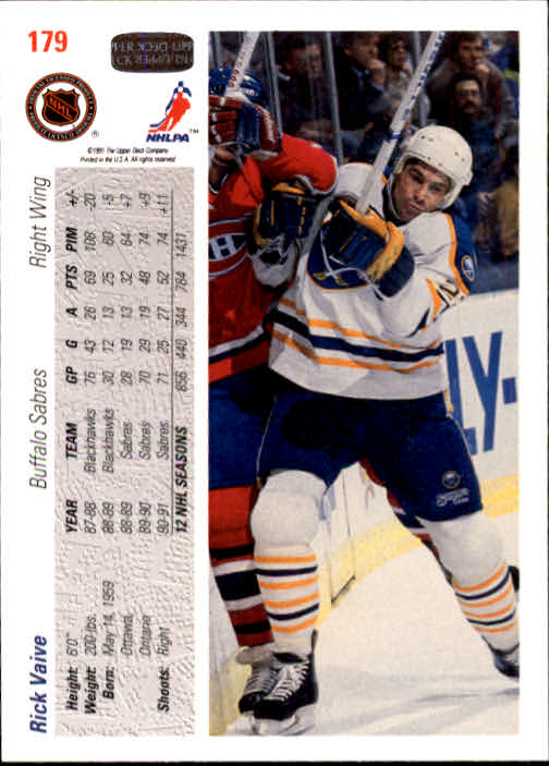 1991-92 Upper Deck #179 Rick Vaive back image