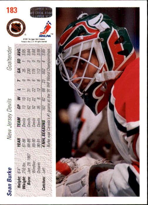 1991-92 Upper Deck #183 Sean Burke back image