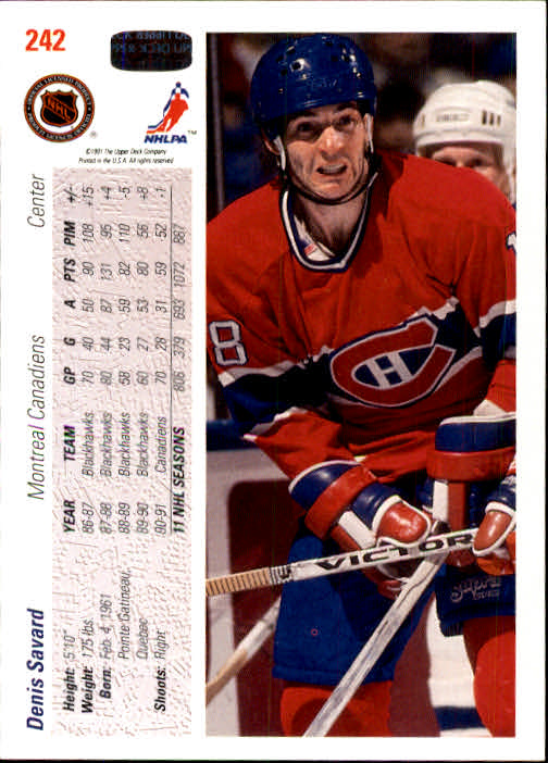 1991-92 Upper Deck #242 Denis Savard back image