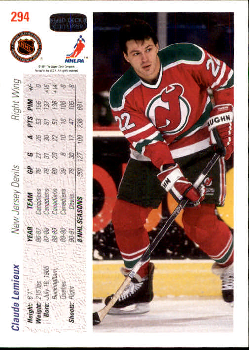 1991-92 Upper Deck #294 Claude Lemieux back image