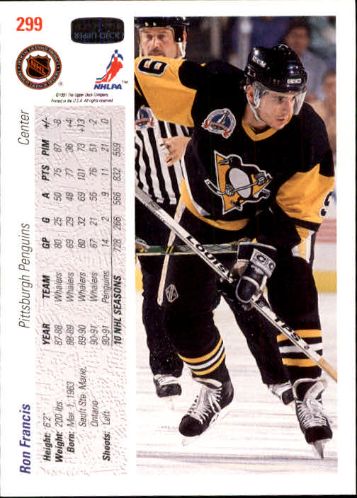 1991-92 Upper Deck #299 Ron Francis back image