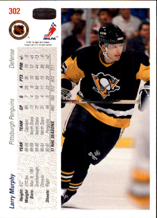 1991-92 Upper Deck #302 Larry Murphy back image