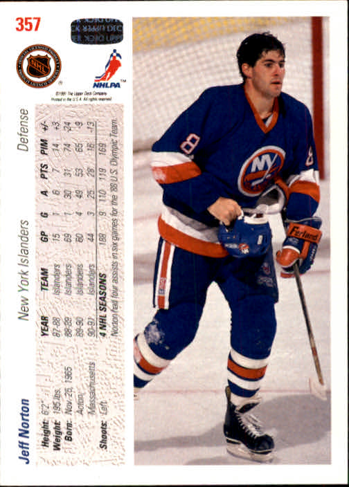 1991-92 Upper Deck #357 Jeff Norton back image
