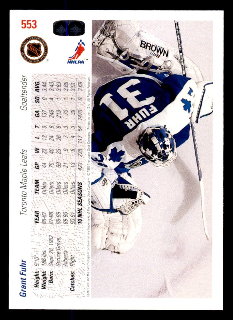 1991-92 Upper Deck #553 Grant Fuhr back image