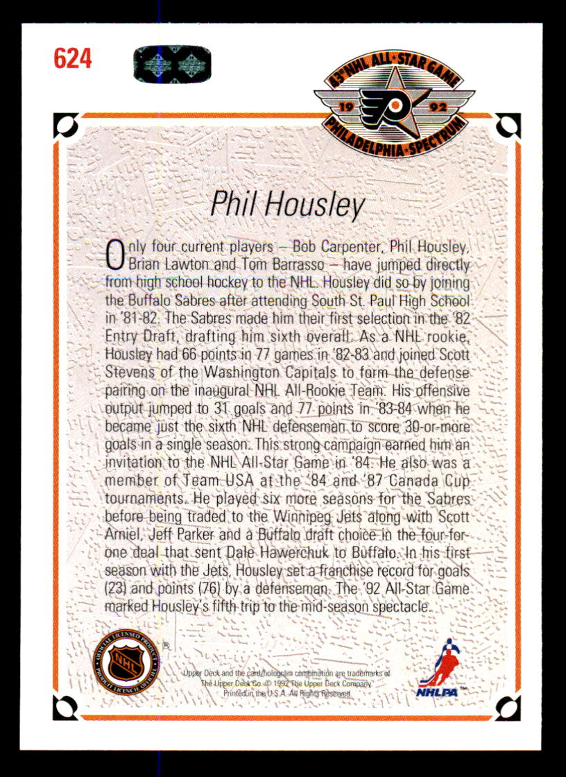 1991-92 Upper Deck #624 Phil Housley AS back image