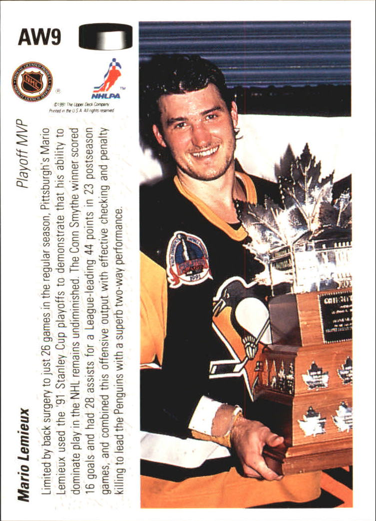 1991-92 Upper Deck Award Winner Holograms #AW9 Mario Lemieux back image