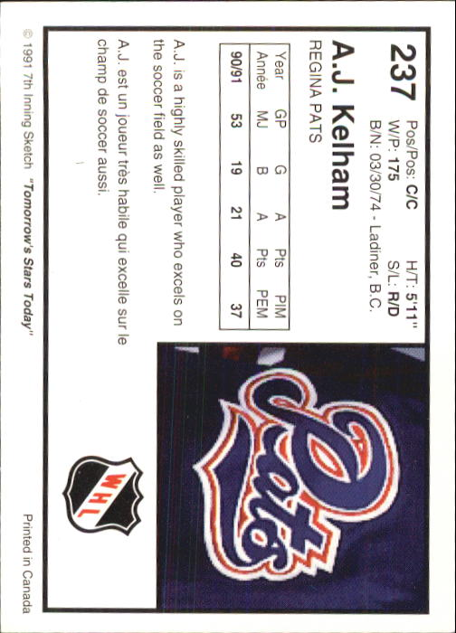 1991-92 7th Innning Sketch WHL #237 A.J. Kelham