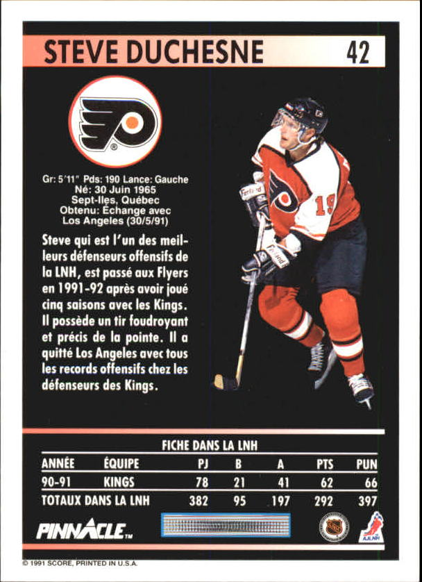 1991-92 Pinnacle French #42 Steve Duchesne back image