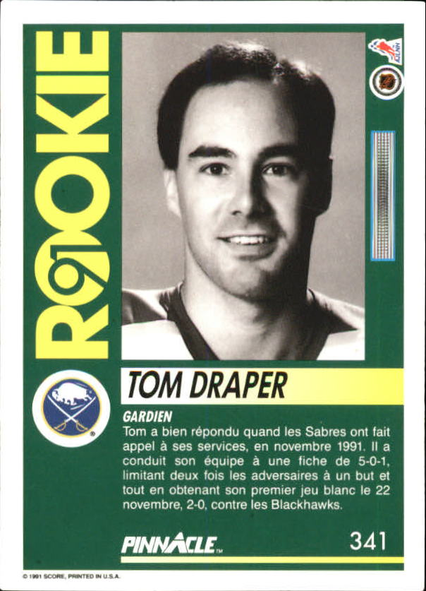 1991-92 Pinnacle French #341 Tom Draper RC back image