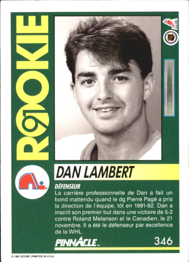 1991-92 Pinnacle French #346 Dan Lambert RC back image