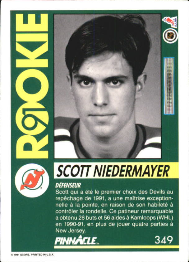 1991-92 Pinnacle French #349 Scott Niedermayer back image