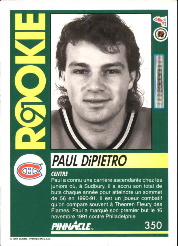 1991-92 Pinnacle French #350 Paul DiPietro RC back image