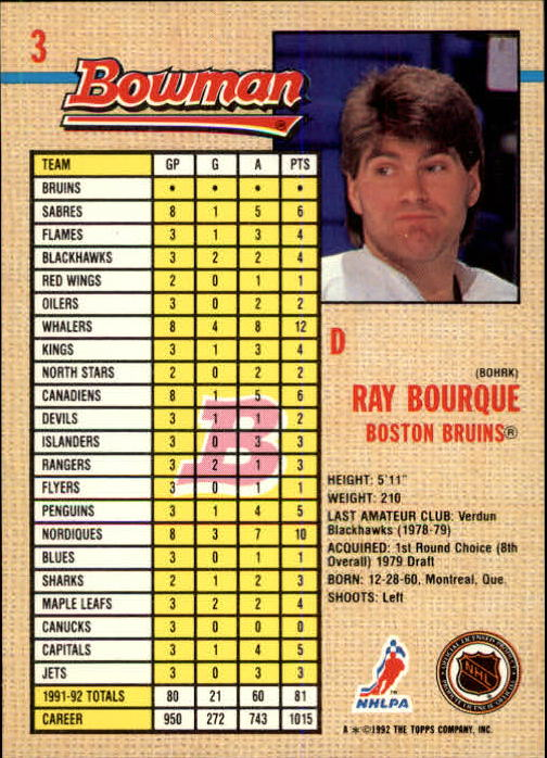 1992-93 Bowman #3 Ray Bourque back image