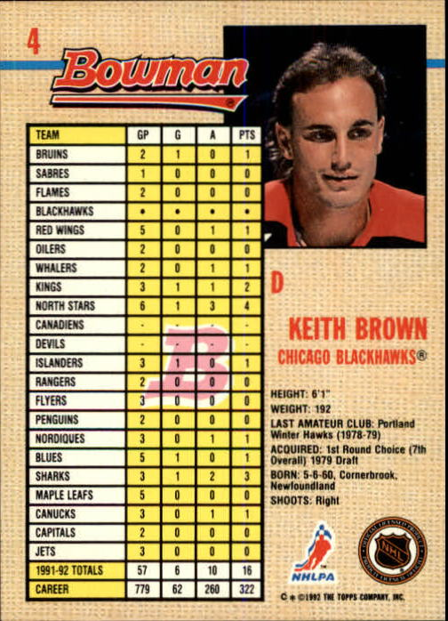1992-93 Bowman #4 Keith Brown back image