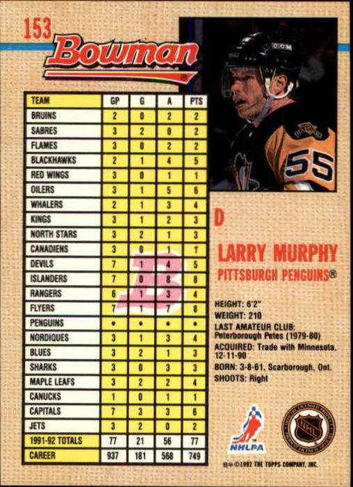 1992-93 Bowman #153 Larry Murphy back image