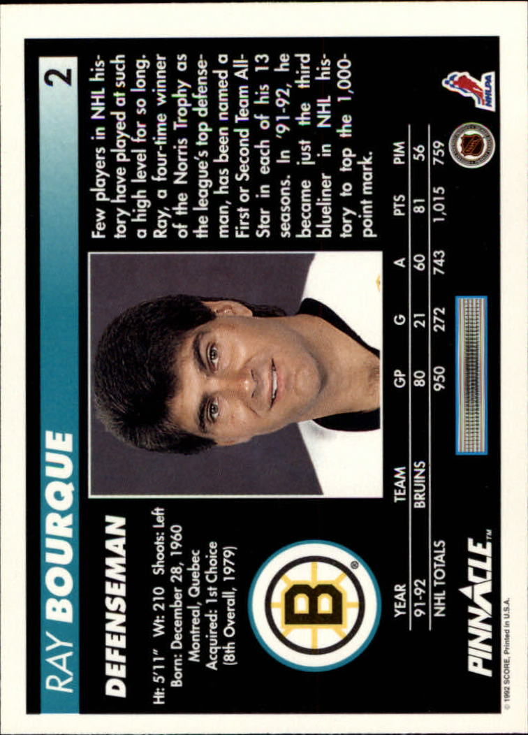 1992-93 Pinnacle #2 Ray Bourque back image