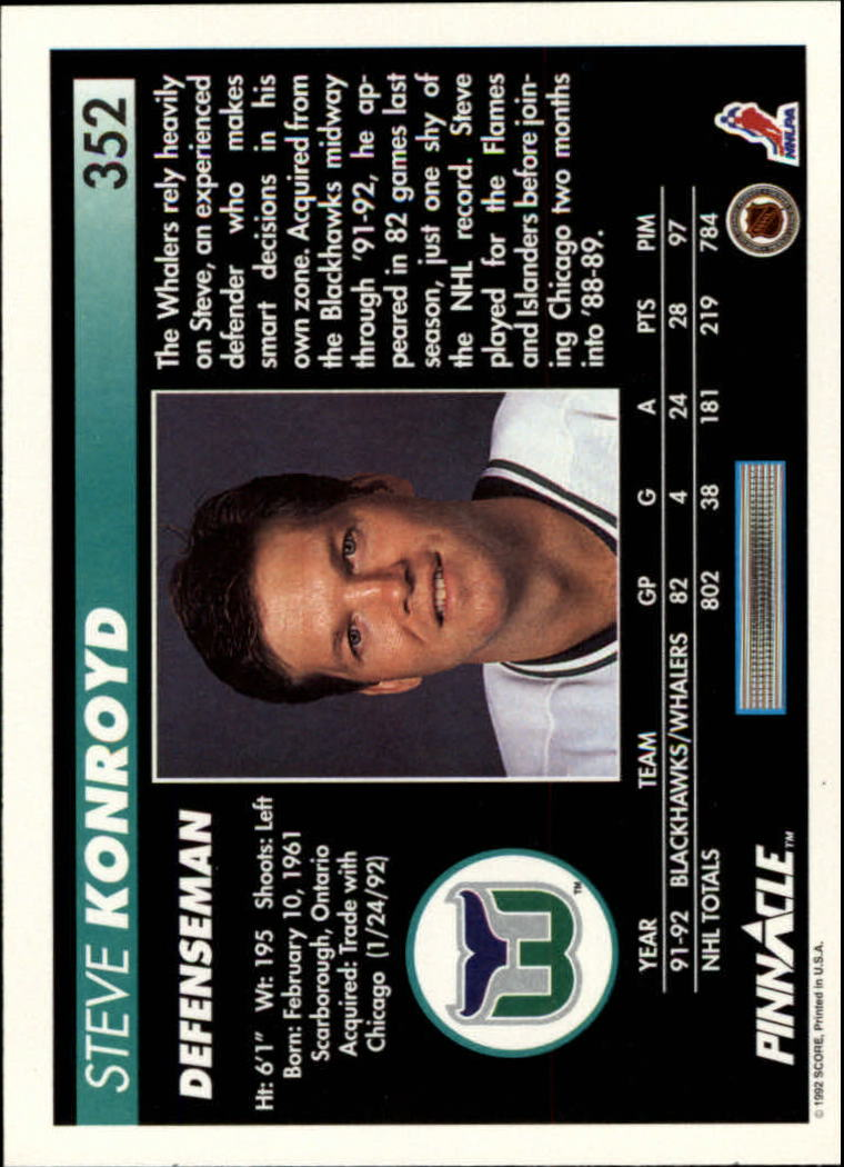 1992-93 Pinnacle #352 Steve Konroyd back image