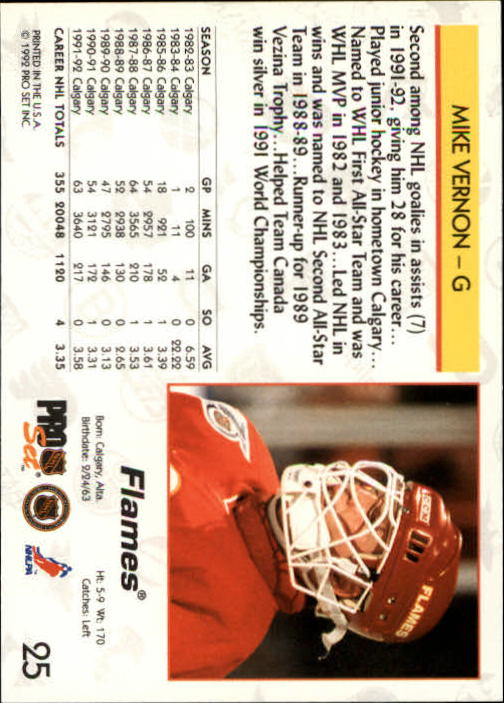 1992-93 Pro Set #25 Mike Vernon back image
