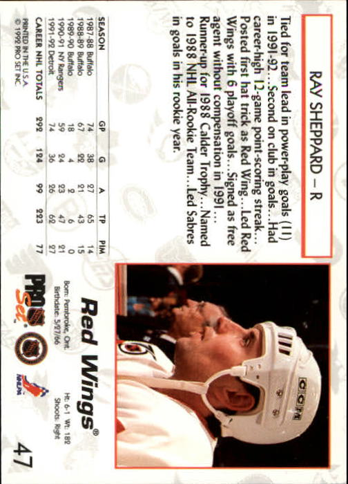 1992-93 Pro Set #47 Ray Sheppard back image
