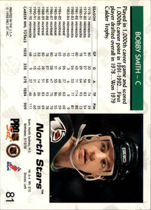 1992-93 Pro Set #81 Bobby Smith back image