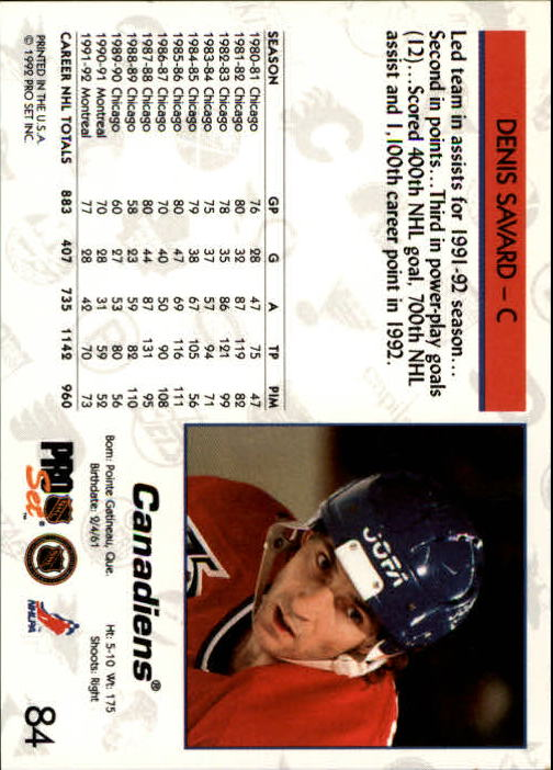 1992-93 Pro Set #84 Denis Savard back image