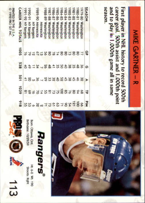 1992-93 Pro Set #113 Mike Gartner back image