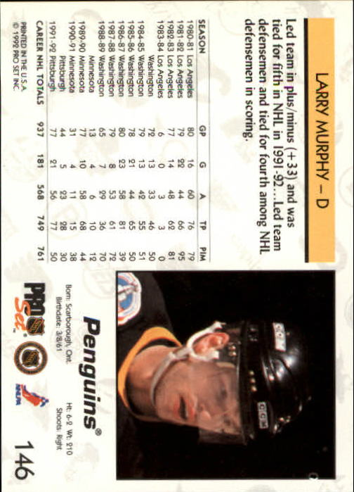 1992-93 Pro Set #146 Larry Murphy back image