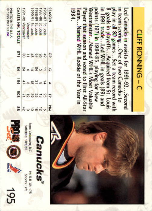 1992-93 Pro Set #195 Cliff Ronning back image