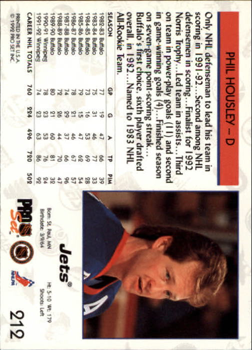 1992-93 Pro Set #212 Phil Housley back image