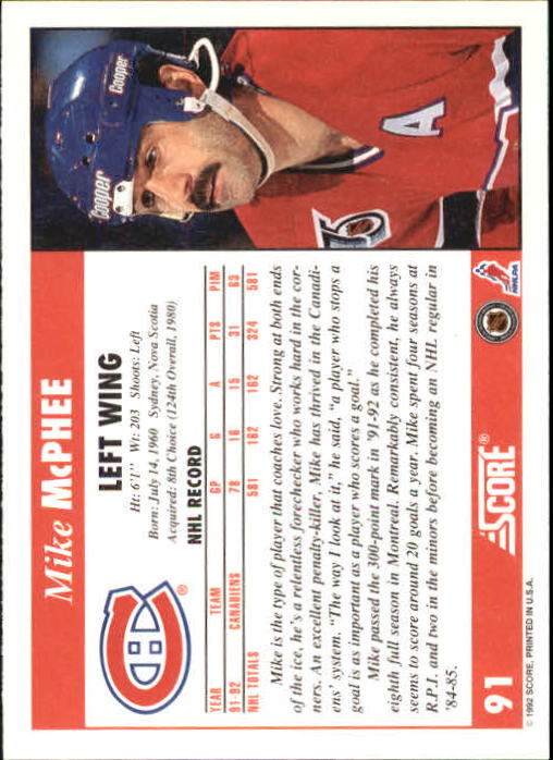 1992-93 Score #91 Mike McPhee back image