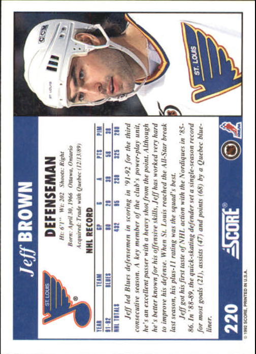 1992-93 Score #220 Jeff Brown back image