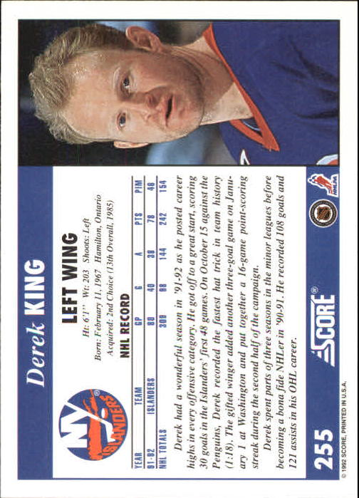 1992-93 Score #255 Derek King back image