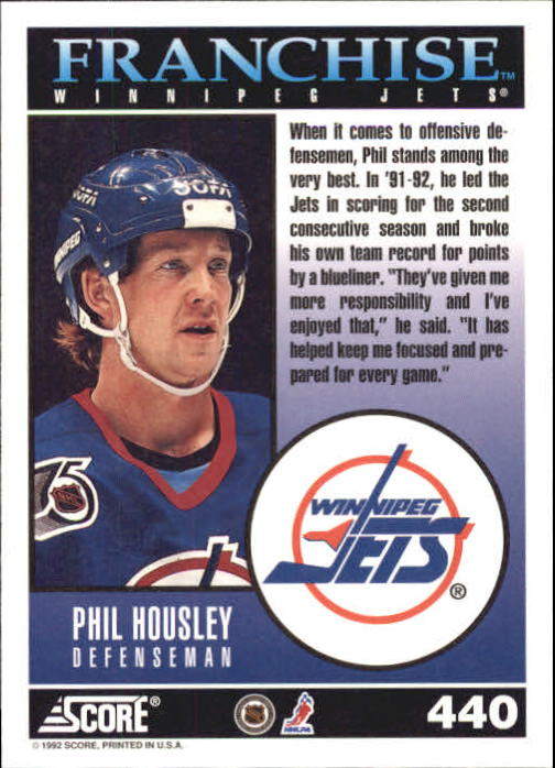 1992-93 Score #440 Phil Housley FP back image