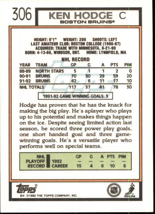 1992-93 Topps #306 Ken Hodge Jr. back image