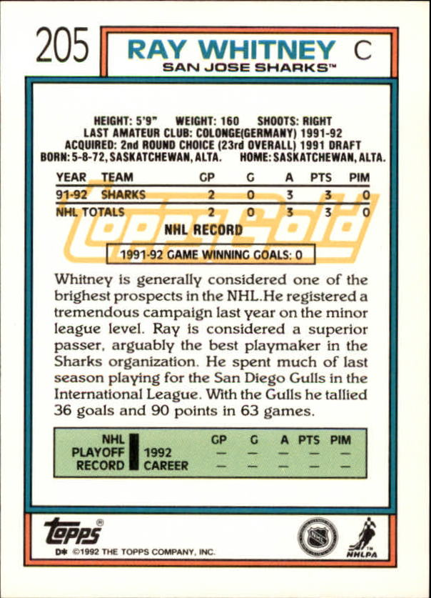 1992-93 Topps Gold #205 Ray Whitney back image