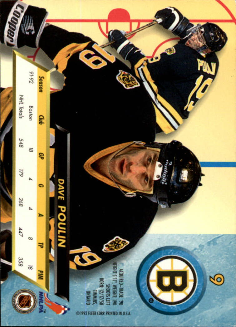 1992-93 Ultra #9 Dave Poulin back image