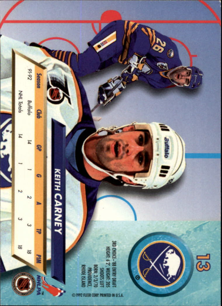 1992-93 Ultra #13 Keith Carney RC back image