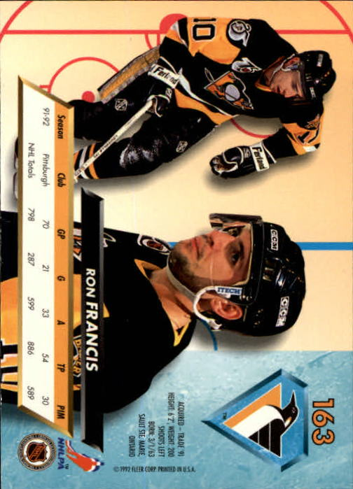 1992-93 Ultra #163 Ron Francis back image