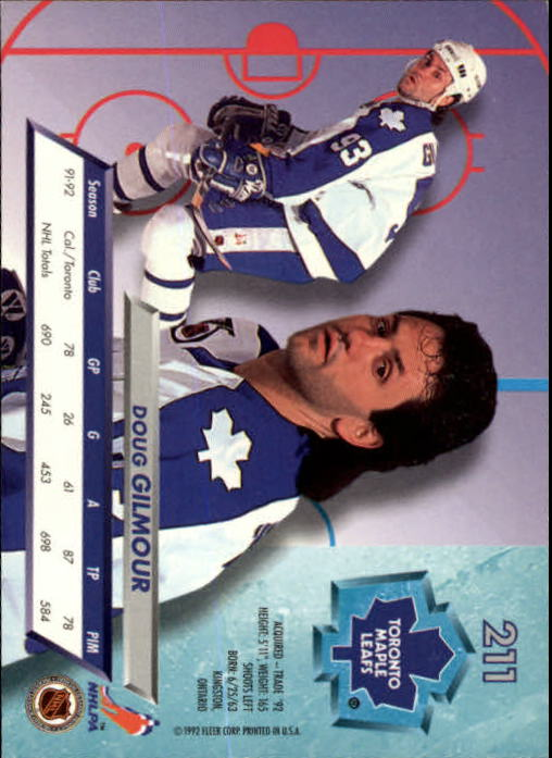 1992-93 Ultra #211 Doug Gilmour back image
