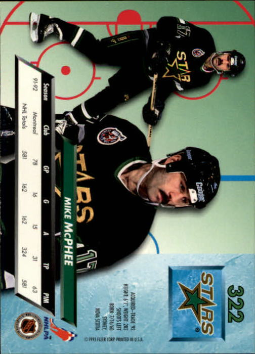 1992-93 Ultra #322 Mike McPhee back image