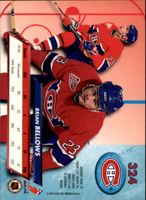 1992-93 Ultra #324 Brian Bellows back image