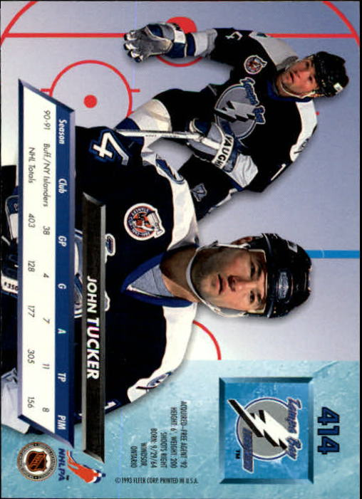 1992-93 Ultra #414 John Tucker back image