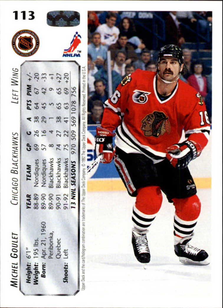 1992-93 Upper Deck #113 Michel Goulet back image