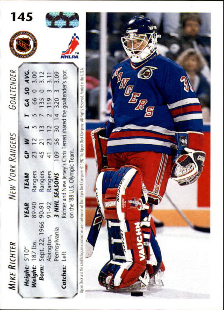 1992-93 Upper Deck #145 Mike Richter back image
