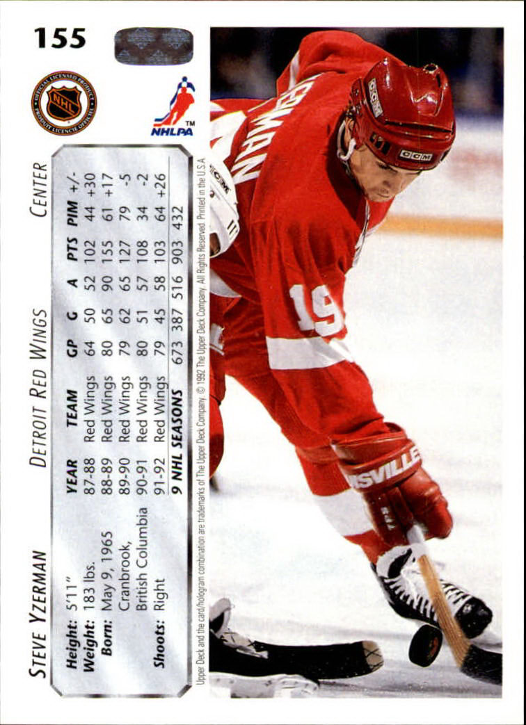 1992-93 Upper Deck #155 Steve Yzerman back image