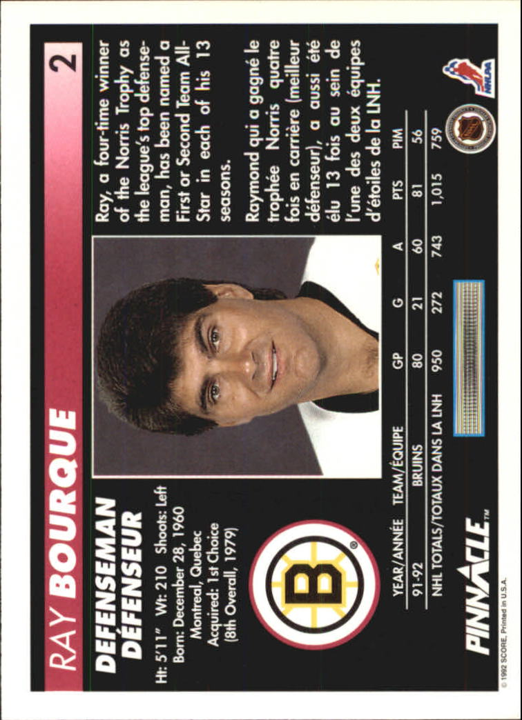 1992-93 Pinnacle French #2 Ray Bourque back image