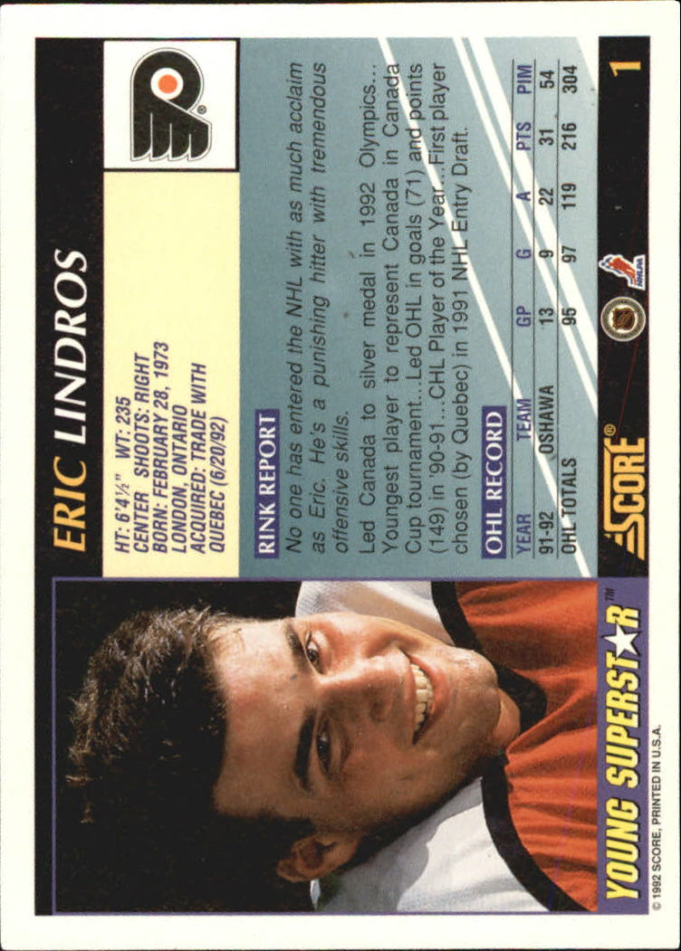 1992-93 Score Young Superstars #1 Eric Lindros back image