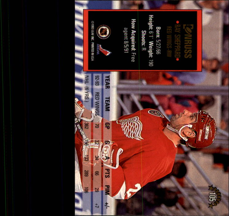 1993-94 Donruss #105 Ray Sheppard back image