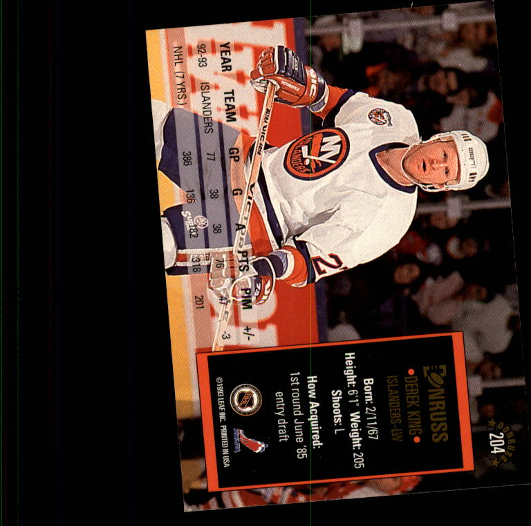 1993-94 Donruss #204 Derek King back image